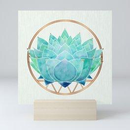 Modern Blue Succulent with Metallic Accents Mini Art Print