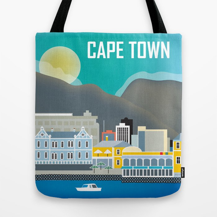 Cape Town, South Africa - Skyline Illustration by Loose Petals Tote Bag
