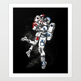 Space Astronaut Cute Couple Cosmic Art Print