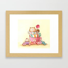 Cups, candy and a cat Framed Art Print