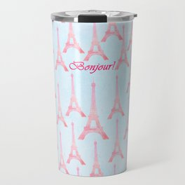 Chic pink teal watercolor Eiffel Tower pattern  Travel Mug