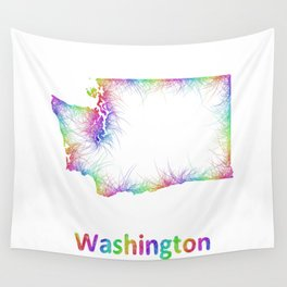 Rainbow Washington map Wall Tapestry