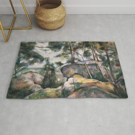 Paul Cézanne Rocks in the Forest, 1890s Rug