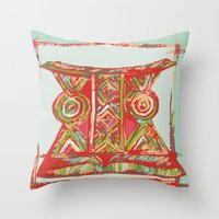 african Throw Pillows featuring african by Silvia Gentilini