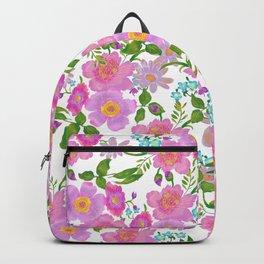 Trendy Pink Teal Lilac Green Watercolor Leaves Flowers Backpack