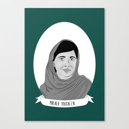Malala Yousafzai Illustrated Portrait Canvas Print