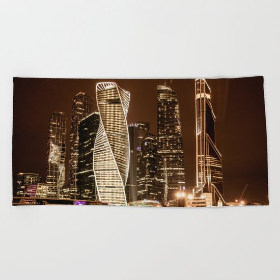 Moscow city Beach Towel