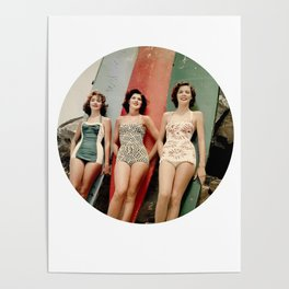 3 Girls on Surfboards Poster