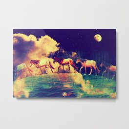 Horses to the moon by #Bizzartino Metal Print