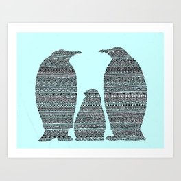 Penguin family aztec pattern Art Print