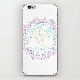 Rainbow Tree of Life - hand designed tattoo style Tree of Life iPhone Skin