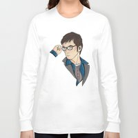 dr who Long Sleeve T-shirts featuring Dr Who David Tennant by Hungry Designs