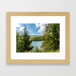 Carpathian Mountains View In Romania, Summer Landscape, Transylvania Mountains, Forests Of Romania Framed Art Print