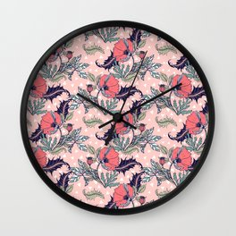 Pink bloom of poppies Wall Clock