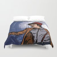 fez Duvet Covers featuring ain't never gonna do it without the fez on by Melvin Pena
