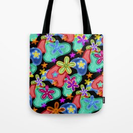 Colorful Retro Flowers Fractalius Pattern Tote Bag