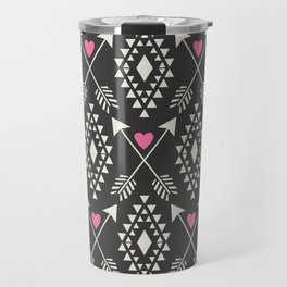 Tribal Aztec with Hearts & Arrows Travel Mug