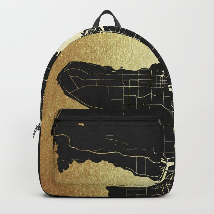 Vancouver Canada Black and Gold Map Backpack