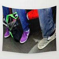 feet Wall Tapestries featuring Three And A Half Feet by oneofacard