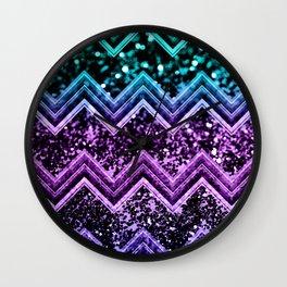 Unicorn Glitter Chevron #4 #shiny #decor #art #society6 Wall Clock