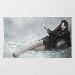 Gunslinger - Badass girl with gun in the snow Rug