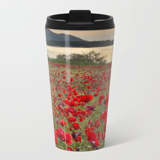 Field of poppies in the lake Metal Travel Mug