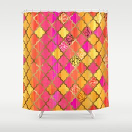 Moroccan Tile Pattern In Pink, Red, Orange, And Gold Shower Curtain