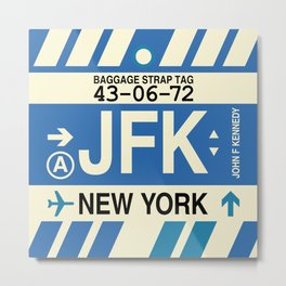 JFK New York • Airport Code and Vintage Baggage Tag Design Metal Print