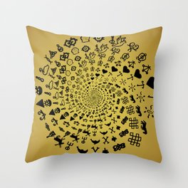 Mandala of Love Symbols from Ancient Cultures on Papyrus Throw Pillow