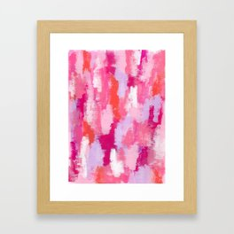 Abstract Modern Painting - Happy Pink Blush Pink Framed Art Print