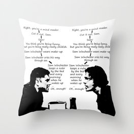 Sam Winchester Keeps a Ruler By His Bed Throw Pillow