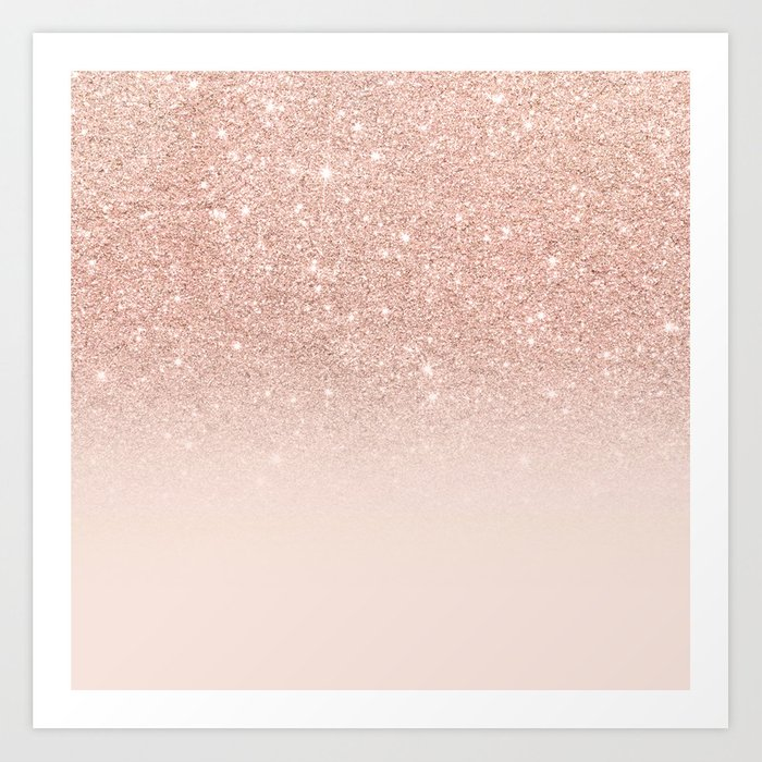 Rose Gold Faux Glitter Pink Ombre Color Block Art Print By