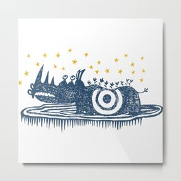rhinoceros stares into the stars Metal Print