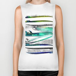 Surfboard Surf Sketch Stripe Biker Tank
