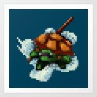 ninja turtle Art Prints featuring Baby Ninja Turtle - PixelArt by Tokka Train