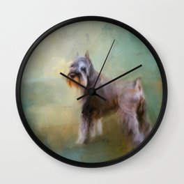 Schnauzer On Patrol Wall Clock