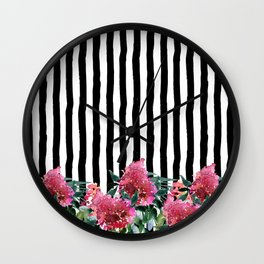 Black white brushstrokes pink watercolor floral stripes Wall Clock