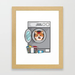 Corgi Dog Funny Gift Framed Art Print