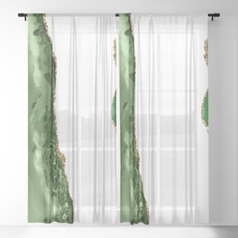Beautiful Emerald And Gold Marble Design Sheer Curtain