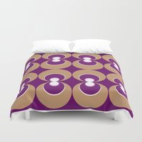 70s Duvet Covers featuring 70s Purple circles by Cdill