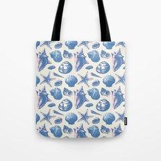 Seashells Pattern 3 - Faded Blue Tote Bag