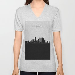 City Skylines: Minneapolis Unisex V-Neck