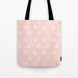 Cute Cat Paw Print Pattern – Baby Pink Tote Bag