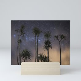 Nighttime Cabbage trees Mini Art Print