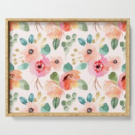 peachy watercolor floral Serving Tray
