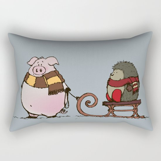 Pig and hedgehog Rectangular Pillow