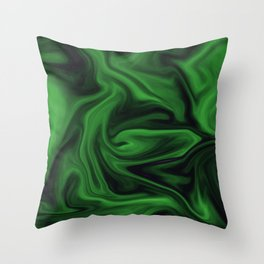 Black and green marble pattern Throw Pillow