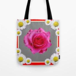 Red Art Shasta Daisy Fuchsia Rose Design Tote Bag