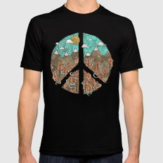 Peaceful Landscape Black LARGE Mens Fitted Tee