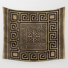 Greek Key Ornament - Greek Meander -Black on gold Wall Tapestry